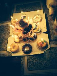 Birthday donut tower